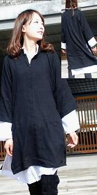 長袖雙層中長旗袍(定做)