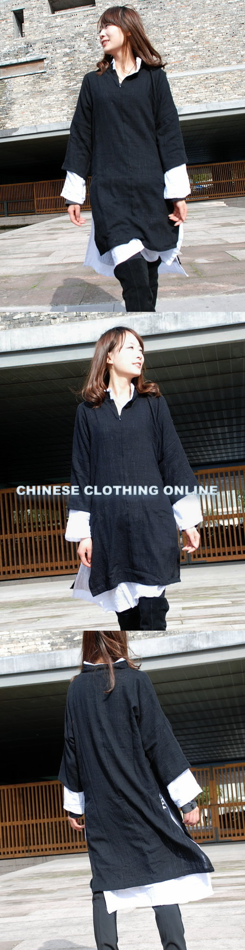 Long-sleeve Dual-layer Mid-length Cheongsam (CM)