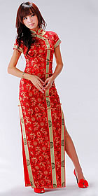 Bargain - Short-sleeve Long-length Cheongsam (CM)