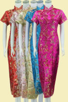 Short-sleeve Long Brocade Cheongsam Dress
