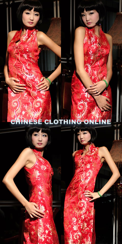 Cut-in Shoulders V-neck Long-length Cheongsam (CM)