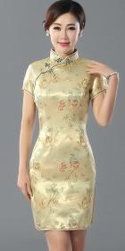短袖短身織錦緞旗袍