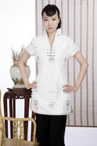 Short-sleeve Embossed Embroidery Mini Cheongsam Dress (White)