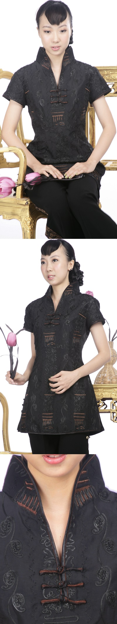Short-sleeve Embossed Embroidery Mini Cheongsam Dress (Black)