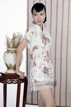 Short-sleeve Printed Pattern Cheongsam Dress (White)