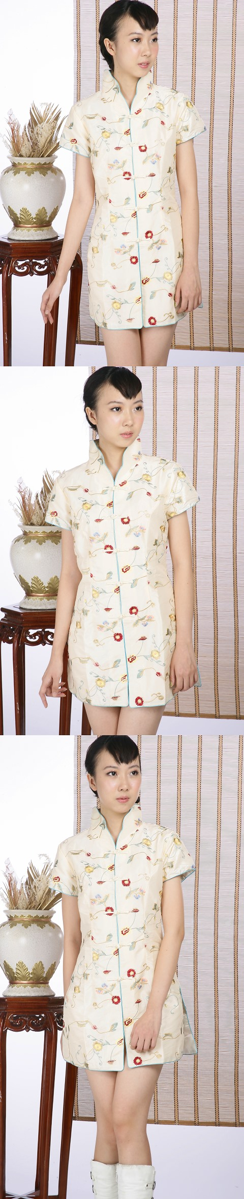 Short-sleeve Floral Embroidery Mini Cheongsam Dress (Light Gold)
