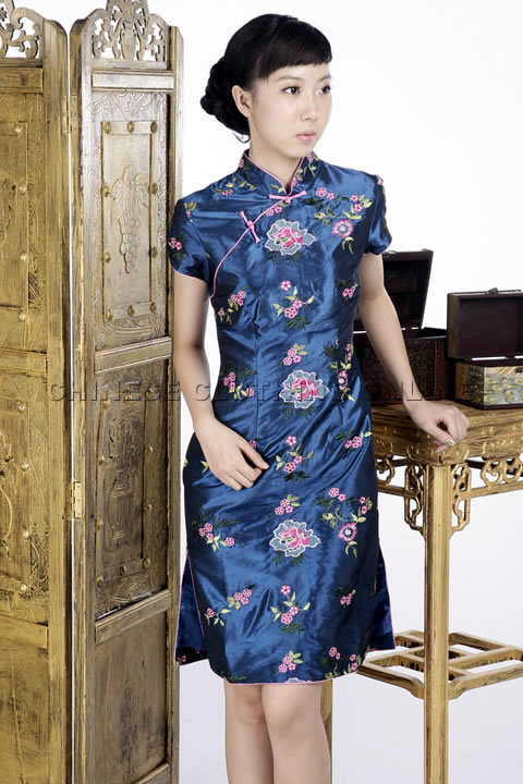 Short-sleeve Floral Embroidery Midi Cheongsam Dress (Sapphire Blue)