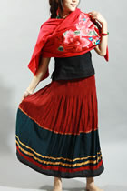 Ethnic Nylon-cotton Long Skirt (RM)