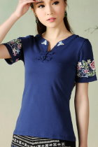 Ethnic Floral Embroidery Short-sleeve Blouse - Blue (RM)
