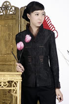 Embossed Embroidery Mandarin Jacket (Black)