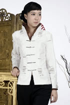 Embossed Embroidery Mandarin Jacket (White)