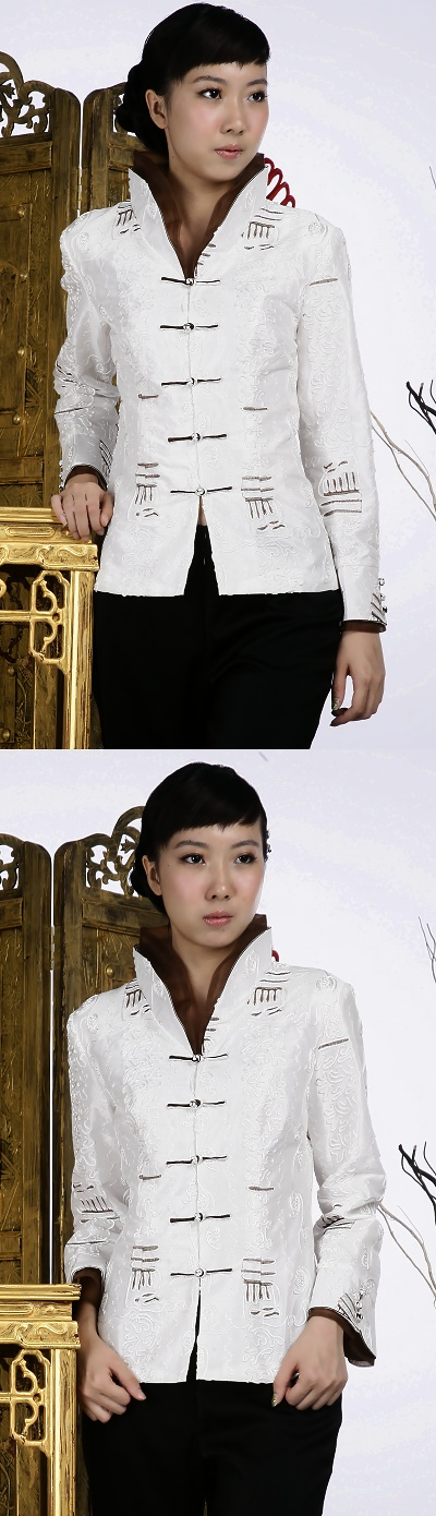 Embossed Embroidery Mandarin Jacket (White)