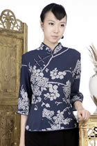 3/4-sleeve Floral Mandarin Blouse (Navy)