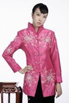 Embossed Floral Embroidery Mandarin Jacket (Fuchsia)
