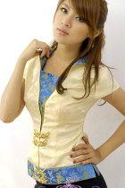 Short-sleeve Foldable Collar Blouse (CM)