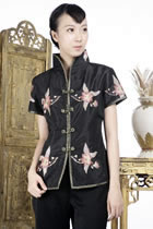 Short-sleeve Floral Embroidery Mandarin Blouse (Black)