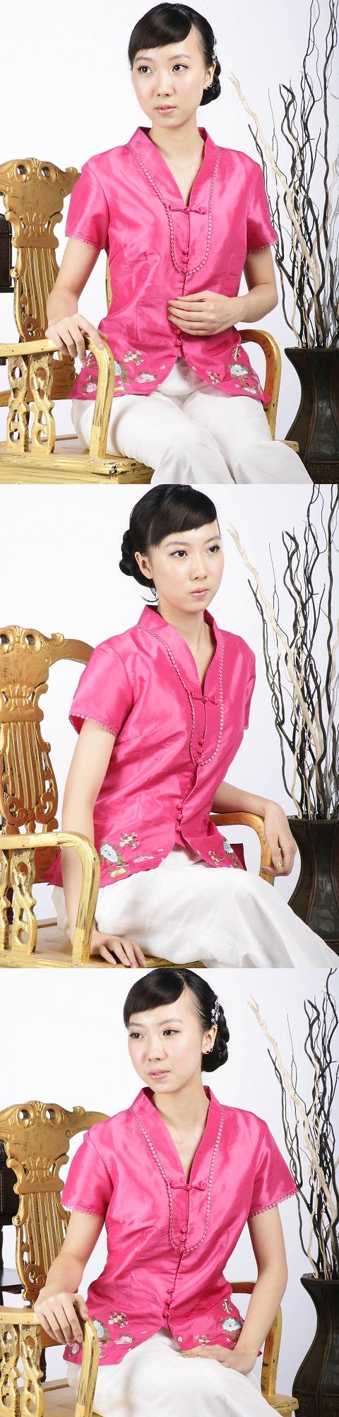 Short-sleeve Embossed Embroidery Mandarin Blouse (Fuchsia)