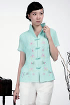 Short-sleeve Floral Embroidery Mandarin Blouse (Aqua)