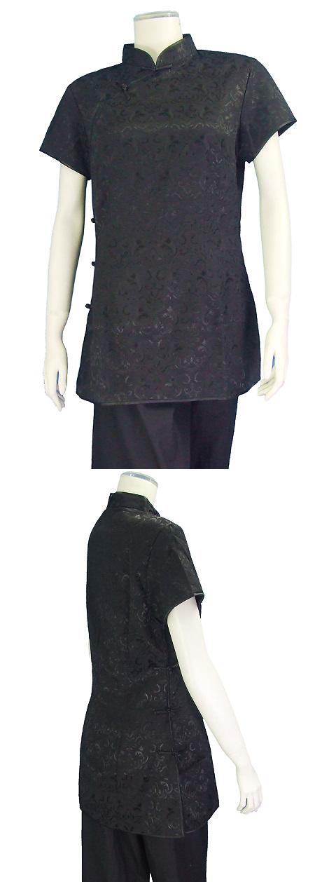 Short-sleeve Shadow Embroidery Mandarin Blouse (Black)