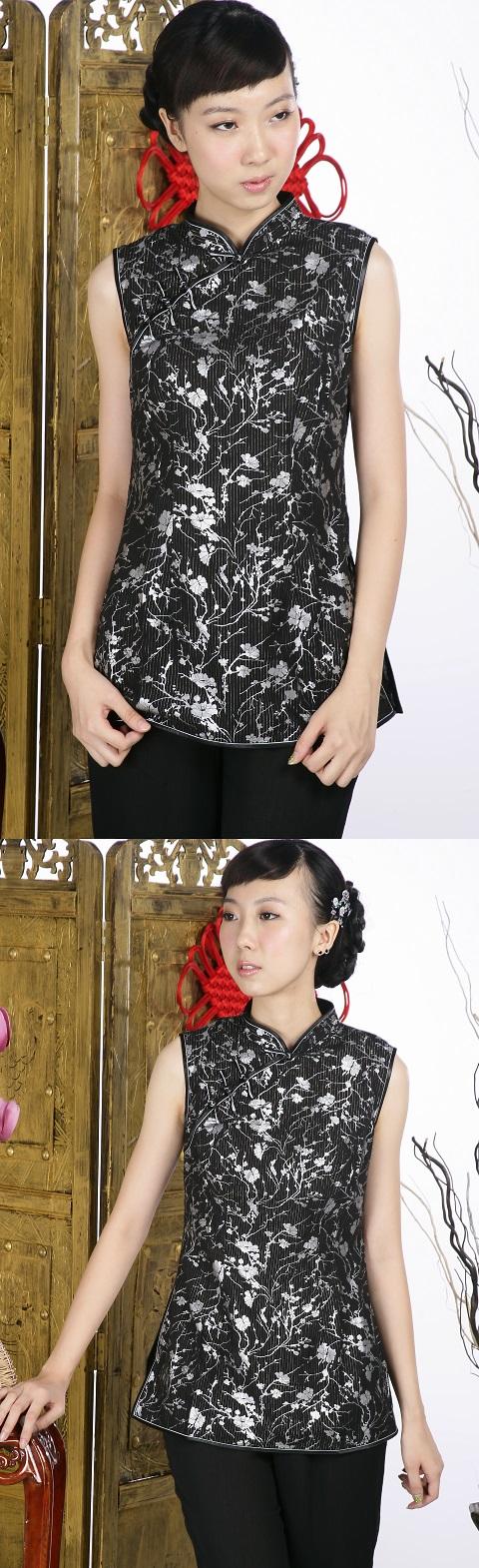Sleeveless Floral Mandarin Blouse (Black)