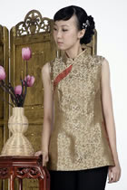 Sleeveless Chinese Poem Embroidery Mandarin Blouse (Gold)