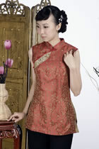 Sleeveless Chinese Poem Embroidery Mandarin Blouse (Rusty Red)