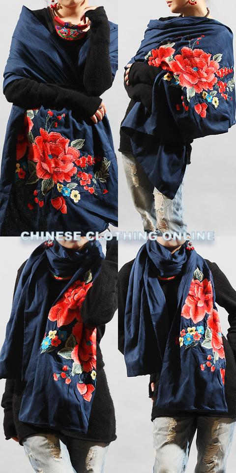 Extra Large Ethnic Mudan Peony Embroidery Shawl (Multicolor)