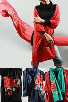 民風情精美刺繡圍巾-風舞牡丹 (多色)